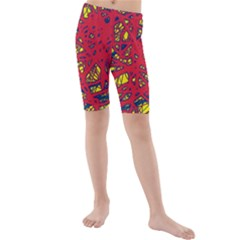 Yellow and red neon design Kid s Mid Length Swim Shorts