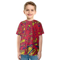 Yellow and red neon design Kid s Sport Mesh Tee