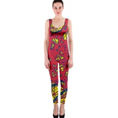 Yellow and red neon design OnePiece Catsuit