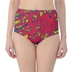 Yellow and red neon design High-Waist Bikini Bottoms