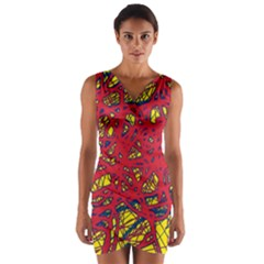 Yellow and red neon design Wrap Front Bodycon Dress
