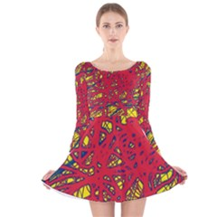 Yellow and red neon design Long Sleeve Velvet Skater Dress