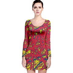 Yellow and red neon design Long Sleeve Velvet Bodycon Dress