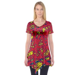 Yellow and red neon design Short Sleeve Tunic