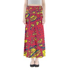 Yellow And Red Neon Design Maxi Skirts