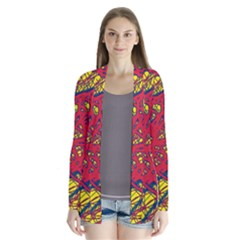 Yellow and red neon design Drape Collar Cardigan