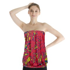 Yellow And Red Neon Design Strapless Top