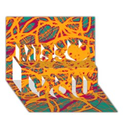 Orange Neon Chaos Miss You 3d Greeting Card (7x5)