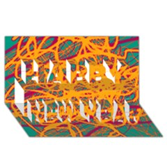Orange neon chaos Happy New Year 3D Greeting Card (8x4)