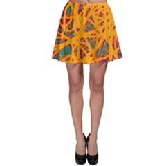 Orange neon chaos Skater Skirt