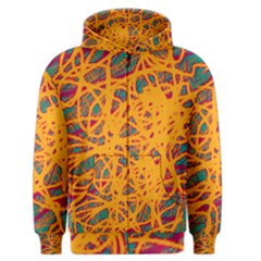 Orange neon chaos Men s Zipper Hoodie