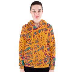 Orange neon chaos Women s Zipper Hoodie