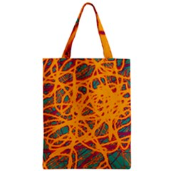 Orange neon chaos Zipper Classic Tote Bag