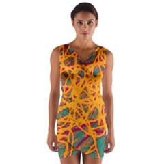 Orange neon chaos Wrap Front Bodycon Dress
