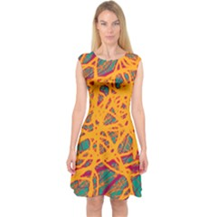Orange neon chaos Capsleeve Midi Dress