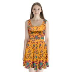 Orange neon chaos Split Back Mini Dress