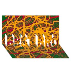 Yellow neon chaos BEST BRO 3D Greeting Card (8x4)