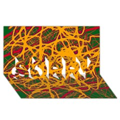 Yellow neon chaos SORRY 3D Greeting Card (8x4)