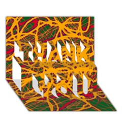 Yellow neon chaos THANK YOU 3D Greeting Card (7x5)