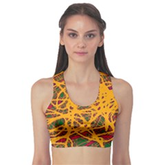 Yellow neon chaos Sports Bra