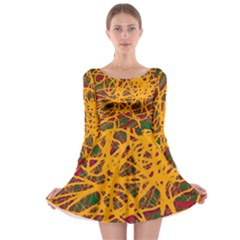 Yellow neon chaos Long Sleeve Skater Dress