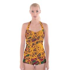 Yellow Neon Chaos Boyleg Halter Swimsuit