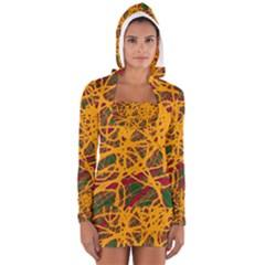 Yellow Neon Chaos Women s Long Sleeve Hooded T Shirt