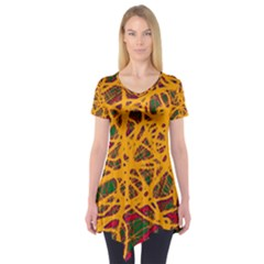 Yellow neon chaos Short Sleeve Tunic