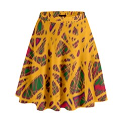 Yellow neon chaos High Waist Skirt