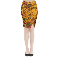 Yellow neon chaos Midi Wrap Pencil Skirt