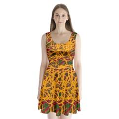 Yellow neon chaos Split Back Mini Dress