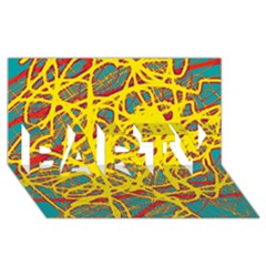 Yellow neon PARTY 3D Greeting Card (8x4)