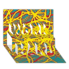 Yellow neon WORK HARD 3D Greeting Card (7x5)