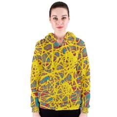Yellow neon Women s Zipper Hoodie