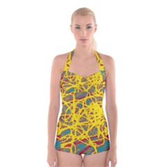 Yellow neon Boyleg Halter Swimsuit