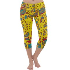 Yellow neon Capri Yoga Leggings