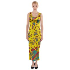 Yellow Neon Fitted Maxi Dress