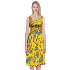 Yellow Neon Midi Sleeveless Dress