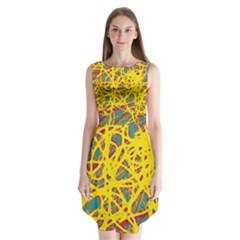 Yellow neon Sleeveless Chiffon Dress