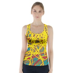 Yellow Neon Racer Back Sports Top