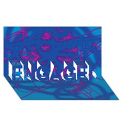 Deep blue ENGAGED 3D Greeting Card (8x4)