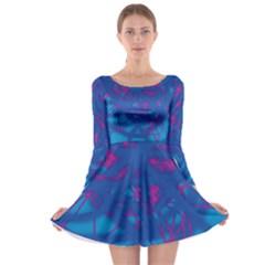 Deep blue Long Sleeve Skater Dress