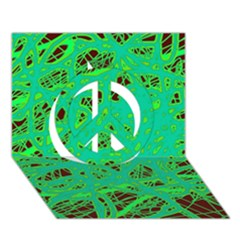 Green neon Peace Sign 3D Greeting Card (7x5)