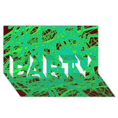 Green neon PARTY 3D Greeting Card (8x4)