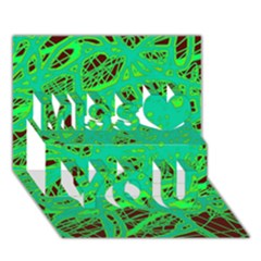 Green neon Miss You 3D Greeting Card (7x5)