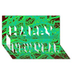Green neon Happy New Year 3D Greeting Card (8x4)