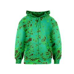 Green neon Kids  Zipper Hoodie