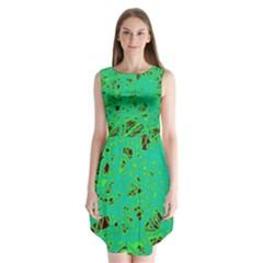 Green neon Sleeveless Chiffon Dress