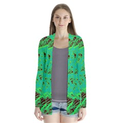 Green neon Drape Collar Cardigan