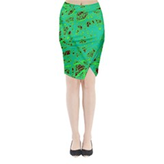Green neon Midi Wrap Pencil Skirt
